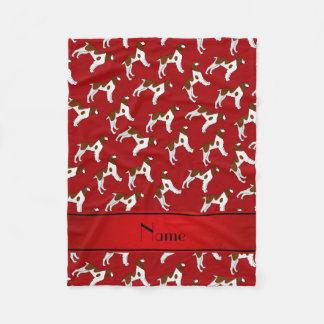 Personalized name red brittany spaniel dogs fleece blanket