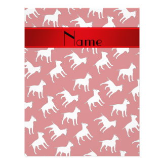 Personalized name red bull terrier dogs flyer design
