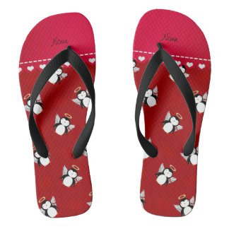 Personalized name red cupid penguins red hearts flip flops