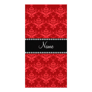 Personalized name Red damask Picture Card