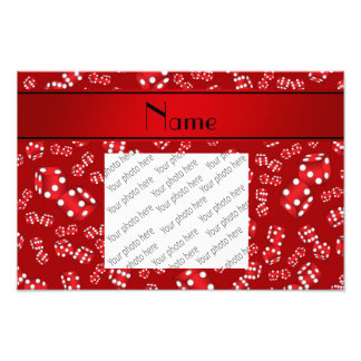 Personalized name red dice pattern photographic print