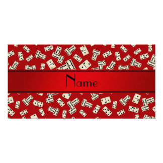 Personalized name red dominos picture card