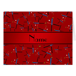 Personalized name red field hockey pattern greeting card