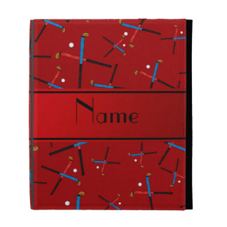 Personalized name red field hockey pattern iPad case