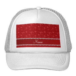Personalized name red figure skating trucker hat