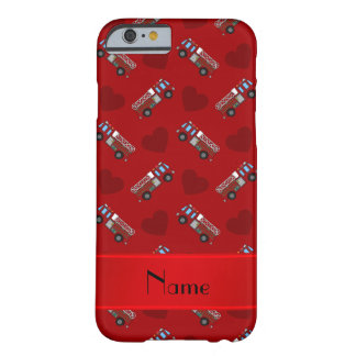 Personalized name red fire trucks hearts barely there iPhone 6 case
