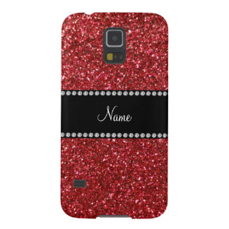Personalized name red glitter galaxy s5 case