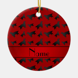 Personalized name red gordon setter dogs round ceramic ornament