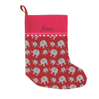 Personalized name red grey elephants small christmas stocking