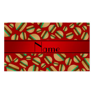Personalized name red hamburger pattern business card templates