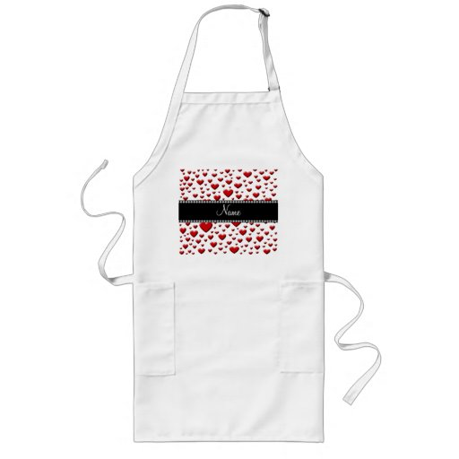 Personalized name red hearts apron