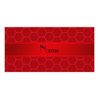 Personalized name red honeycomb photo cards