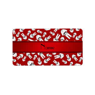 Personalized name red karate pattern custom address labels