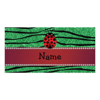 Personalized name red ladybug green zebra stripes photo cards