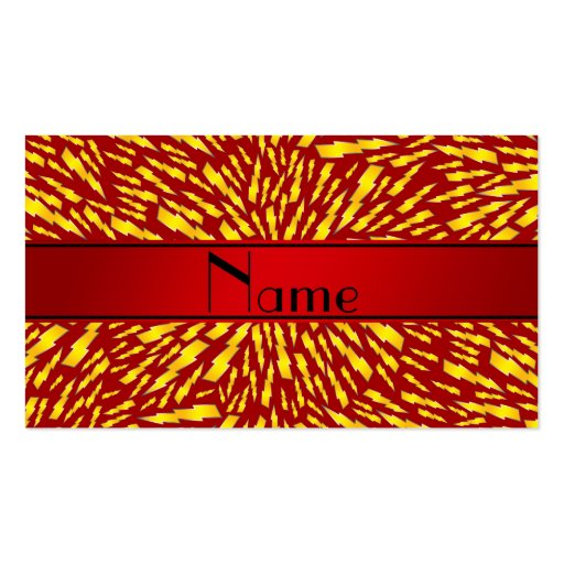 Personalized name red lightning bolts business card template