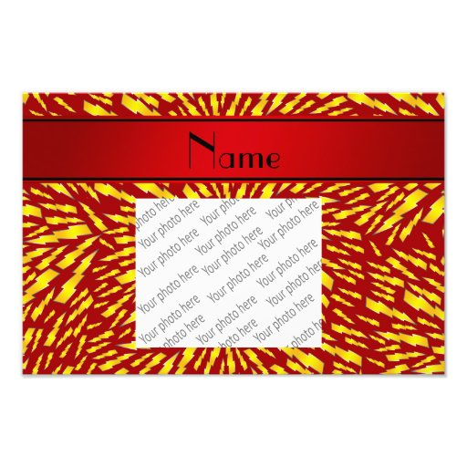 Personalized name red lightning bolts art photo