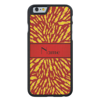 Personalized name red lightning bolts carved® maple iPhone 6 case