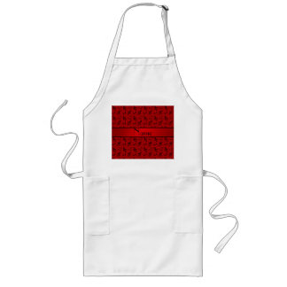 Personalized name red music notes aprons