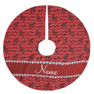 Personalized name red music notes chevrons brushed polyester tree skirt