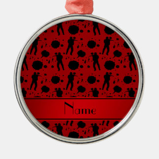 Personalized name red paintball pattern Silver-Colored round ornament