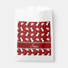 Personalized name red penguins igloos snowflakes favour bag