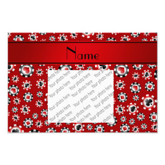 Personalized name red poker chips photo art