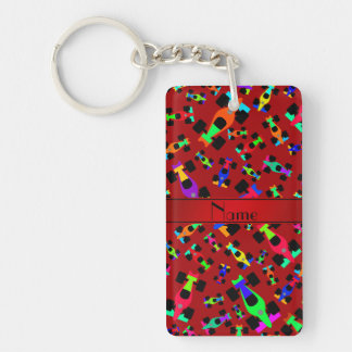 Personalized name red race car pattern rectangle acrylic key chains