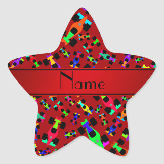 Personalized name red race car pattern star sticker