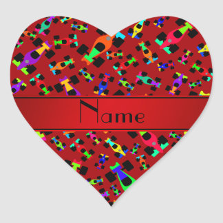Personalized name red race car pattern heart sticker