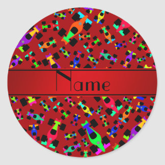 Personalized name red race car pattern round sticker