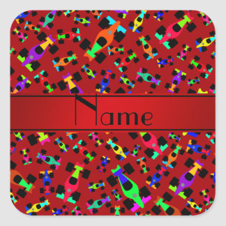 Personalized name red race car pattern square sticker