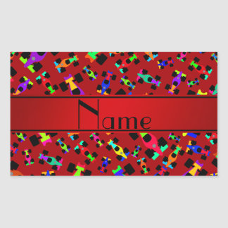 Personalized name red race car pattern rectangular sticker