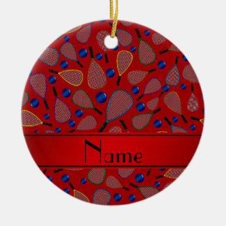 Personalized name red racquetball pattern ceramic ornament