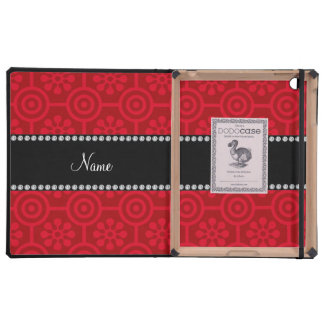 Personalized name red retro flowers iPad folio case