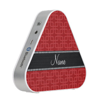 Personalized name red retro squares speaker