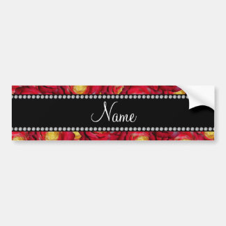 Personalized name red roses bumper sticker