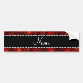 Personalized name red roses bumper stickers