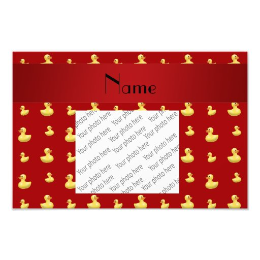 Personalized name red rubber duck pattern photographic print