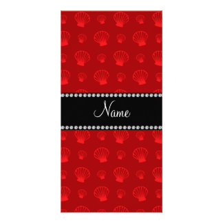 Personalized name red shells personalized photo card