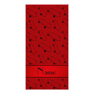 Personalized name red skateboard pattern photo card
