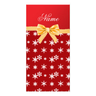 Personalized name red snowflakes gold bow picture card
