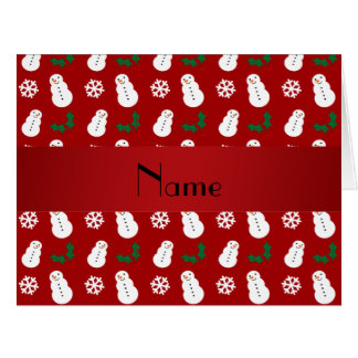 Personalized name red snowman christmas card