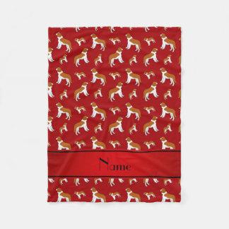 Personalized name red St Bernard dogs Fleece Blanket