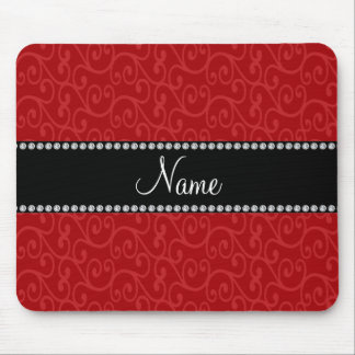 Personalized name red swirls mousepads