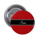 Personalized name red swirls pinback buttons