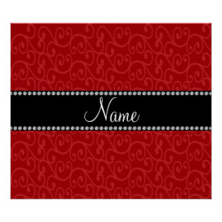 Personalized name red swirls print