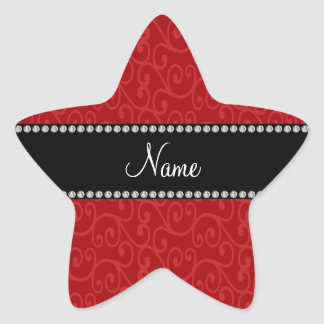 Personalized name red swirls stickers