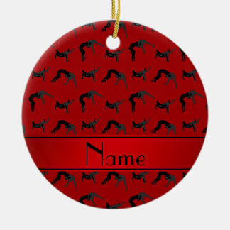 Personalized name red wrestling silhouettes ceramic ornament