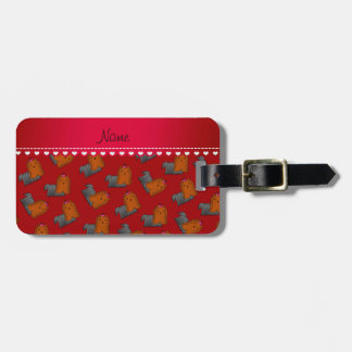 Personalized name red yorkshire terriers luggage tag