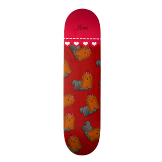 Personalized name red yorkshire terriers skate boards